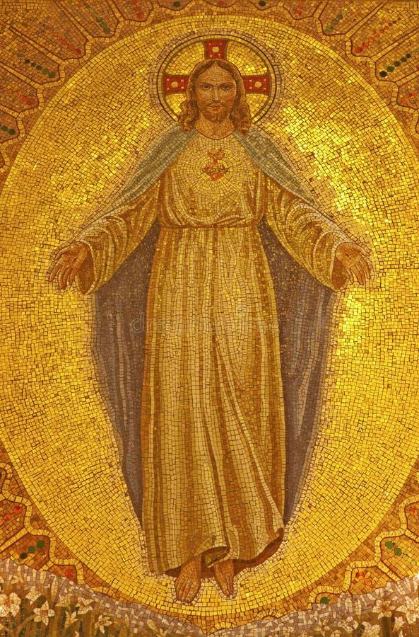 Palermo - Mozaïek van Jesus Christ van kerk Convento Dei Carmelitani Scalzi stock foto
