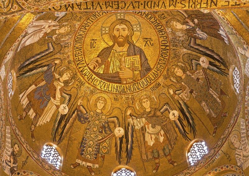 Palermo - Mozaïek van koepel van Cappella Palatina - Palatine Kapel stock afbeelding