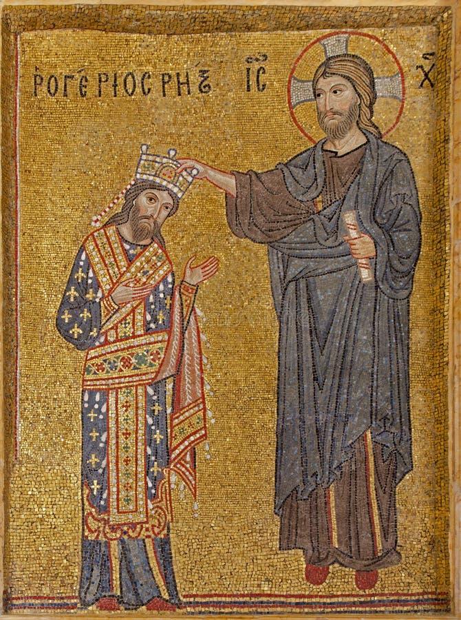 Palermo - Mozaïek van koning zoals met bekroonde Christus stock fotografie
