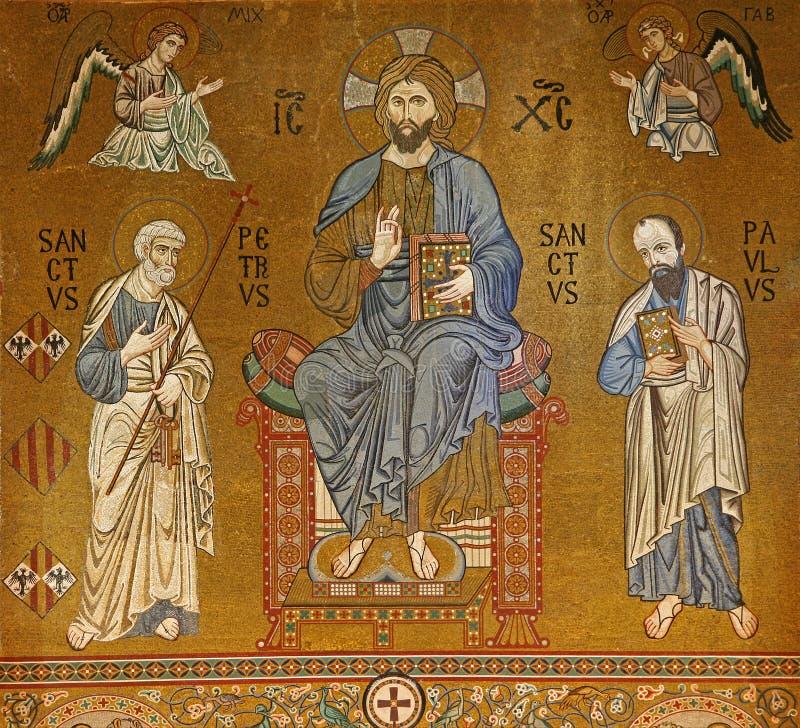 Palermo - mozaika jezus chrystus od Cappella Palatina - palatyn kaplica w Anglonormańskim pałac zdjęcie stock