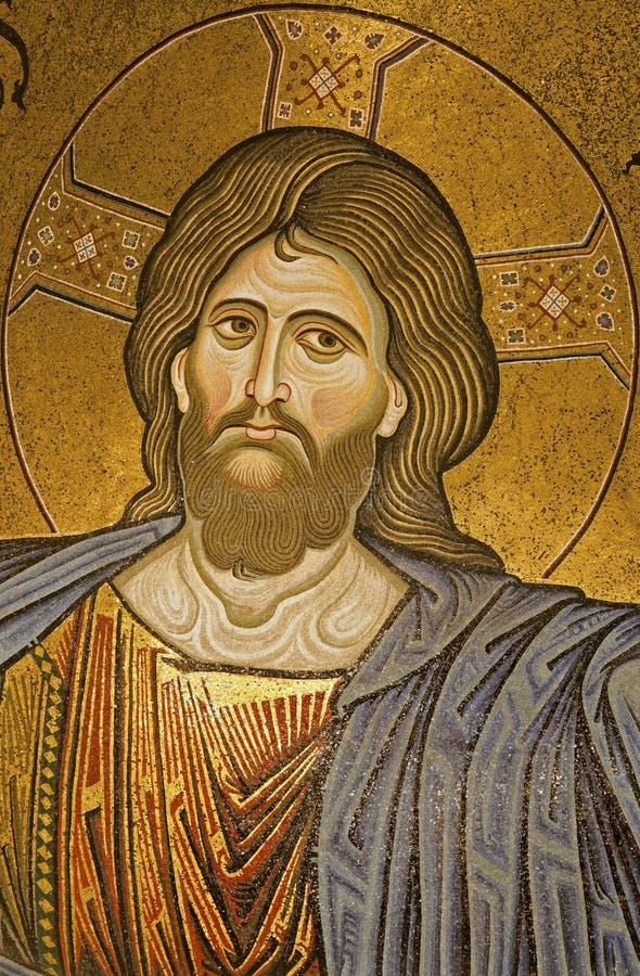 Palermo - mozaika jezus chrystus od głównej apsydy Monreale katedra. obraz royalty free