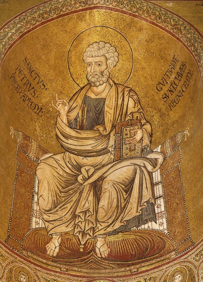 Palermo - mozaiki święty Peter od bocznej apsydy Monreale katedra. fotografia royalty free
