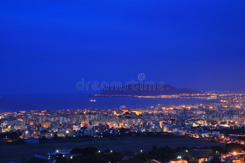 Palermo night cityscape, Sicily royalty free stock photos
