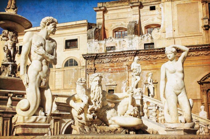 Palermo, piazza Pretoria fotografia stock