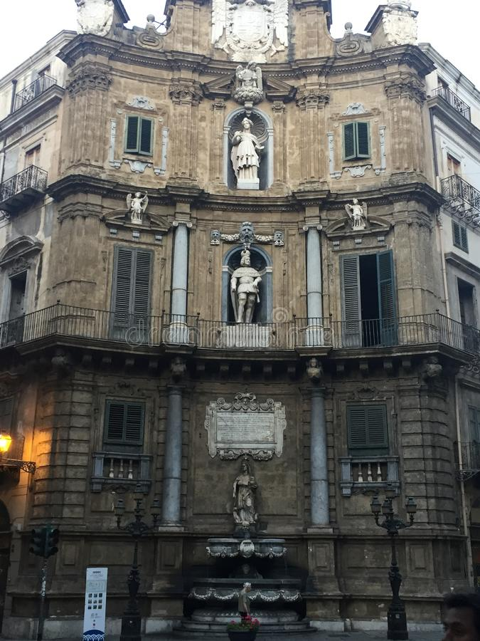 Palermo Quattro Canti sikt royaltyfria foton