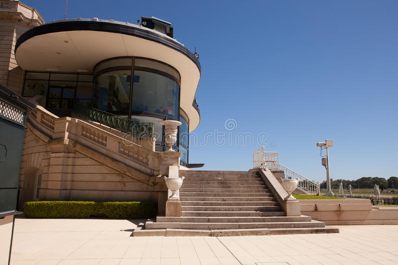 Palermo Racecourse, Buenos Aires. Stairway and section of grandstand stand near the finishing line of Palermo racecourse stock photography