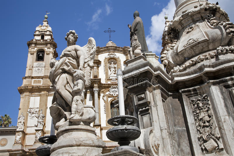 Download Palermo  - Saint Dominic Church And Baroque Column Stock Image - Image: 30916751