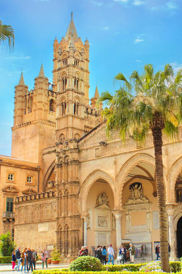 Palermo, Sicily, Italy - Apr 11th 2019: Palermo Cathedral exterior with people standing in front of building. Roman Catholic. Church, Cathedral of the stock photos
