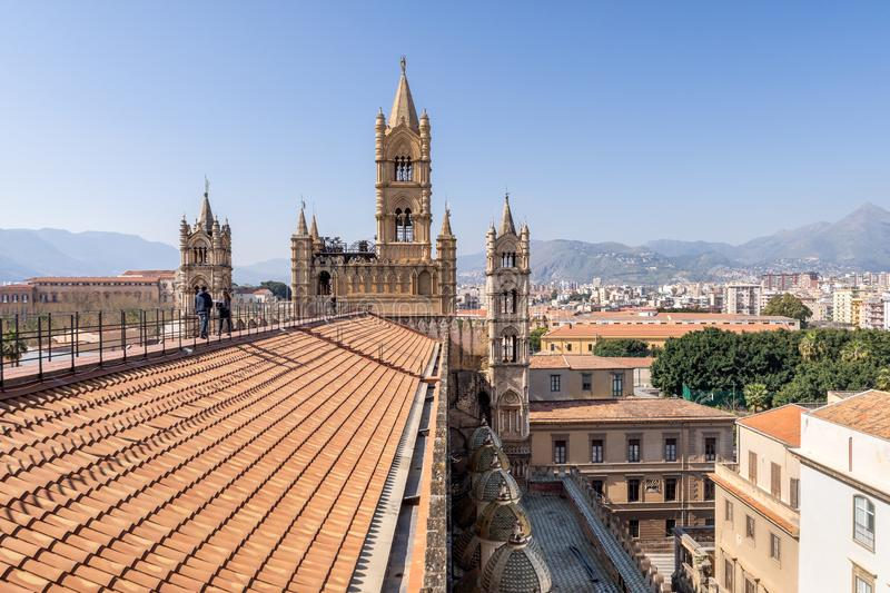 Rooftop view of the Palermo Cathedral or Cattedrale di Palermo bell towers in a nice sunny afternoon in Palermo, Sicily royalty free stock photo