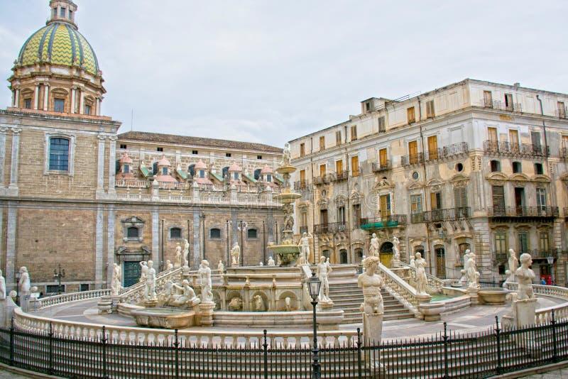 Palermo - Sicily. Square Pretoria, or shame, Palermo - Sicily royalty free stock photography