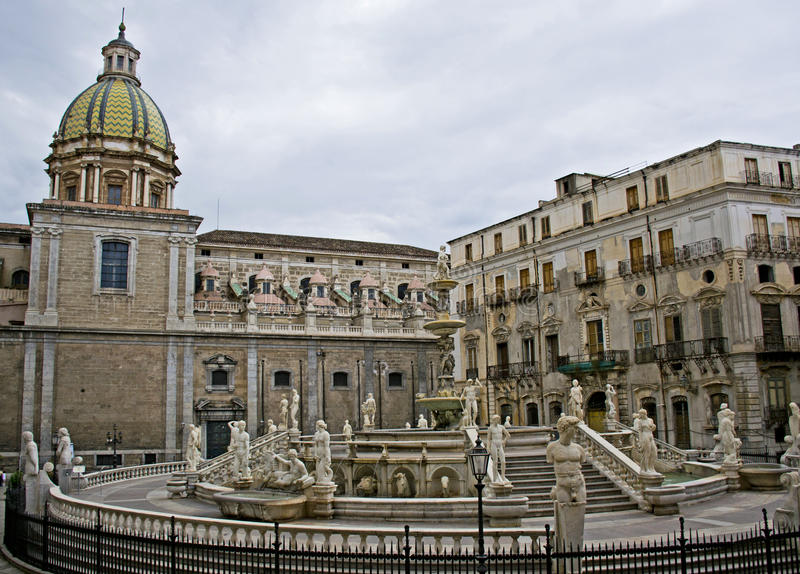 Palermo - Sicily. Square Pretoria, or shame, Palermo - Sicily royalty free stock photos