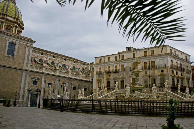 Palermo - Sicily. Square Pretoria, or shame, Palermo - Sicily royalty free stock image