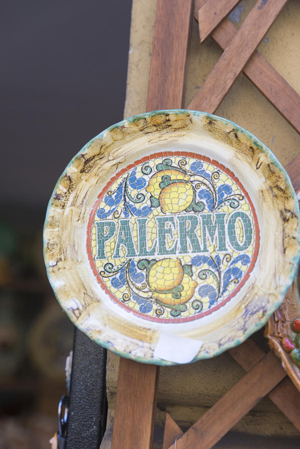 Palermo souvenir. A decorative dish with the word Palermo written on it displayed as a souvenir in one of Palermo's shops royalty free stock photos
