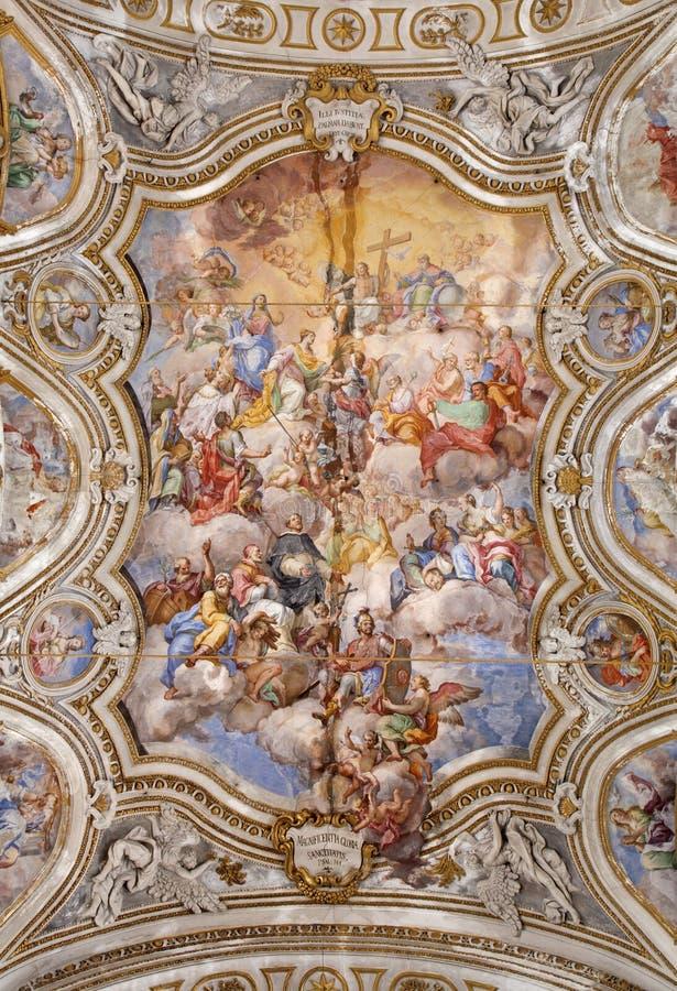 Palermo - techo de los di barrocos Santa Caterina de Chiesa de la iglesia imagen de archivo
