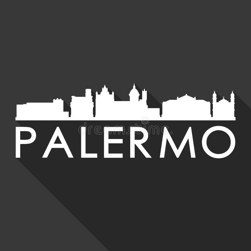 Palermo Włochy Europa ikony Euro Wektorowej sztuki cienia projekta linii horyzontu miasta sylwetki czerni Płaski tło royalty ilustracja