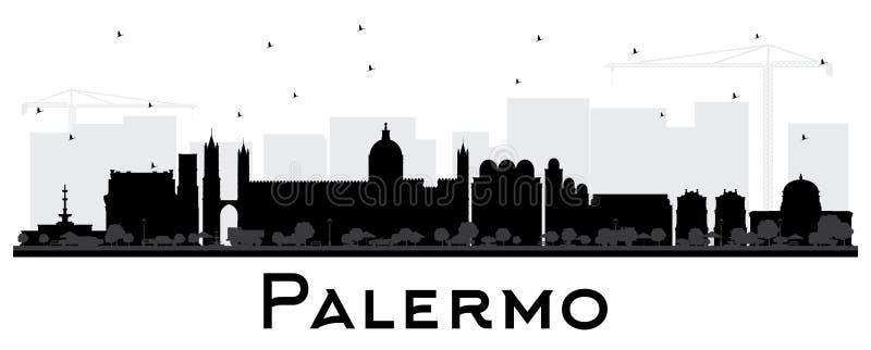 Palermo Włochy miasta linii horyzontu sylwetka z Czarnymi budynkami Isola ilustracji
