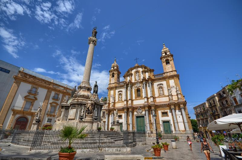 Palermo, Włochy, Sicily Sierpień 24 2015 Kościół San Domenico zdjęcia stock