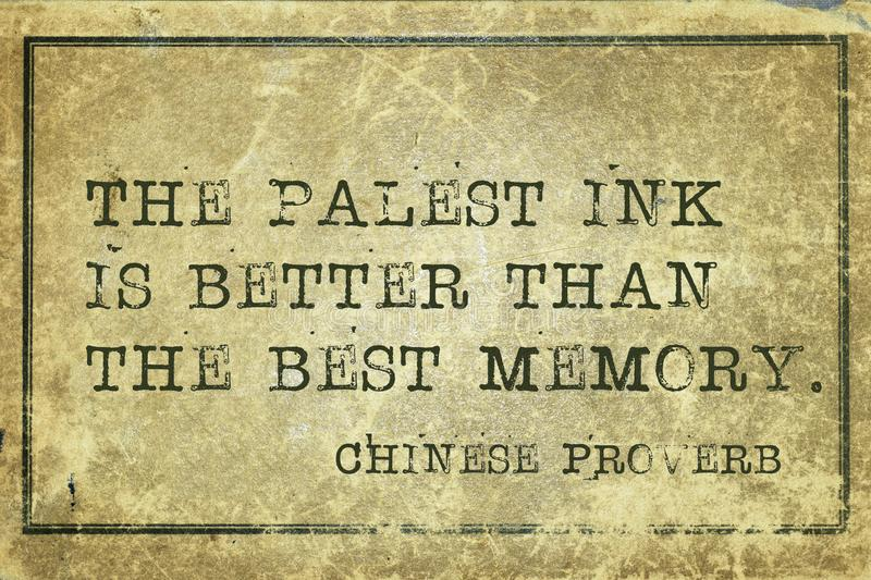 Palest ink print. The palest ink is better than the best memory - ancient Chinese proverb printed on grunge vintage cardboard royalty free illustration