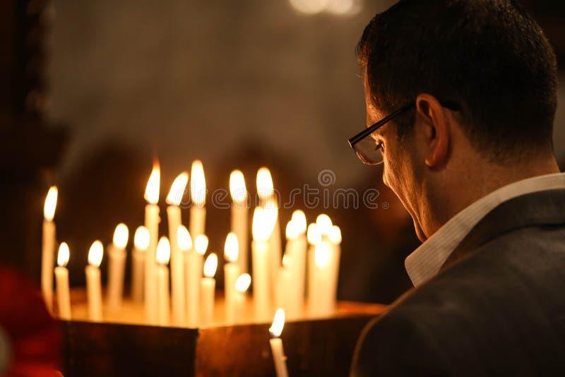Palestijnse Christenen bij de St Porphyrius Kerk in Gaza royalty-vrije stock afbeeldingen