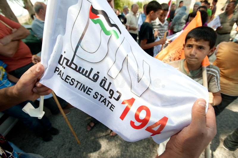 Palestijnse Demonstratie Statehood stock foto's