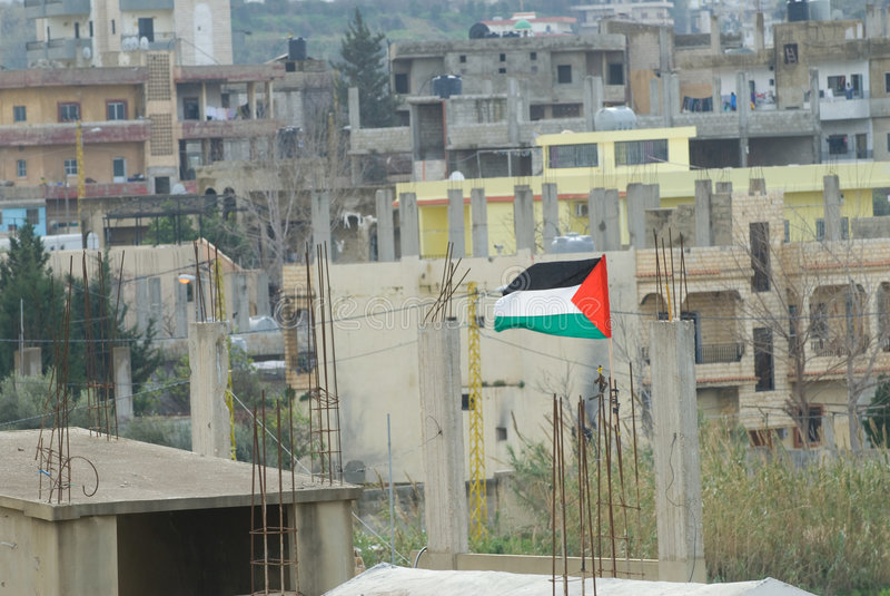 Palestijnse Vlag in het Kamp van de Vluchteling royalty-vrije stock afbeelding