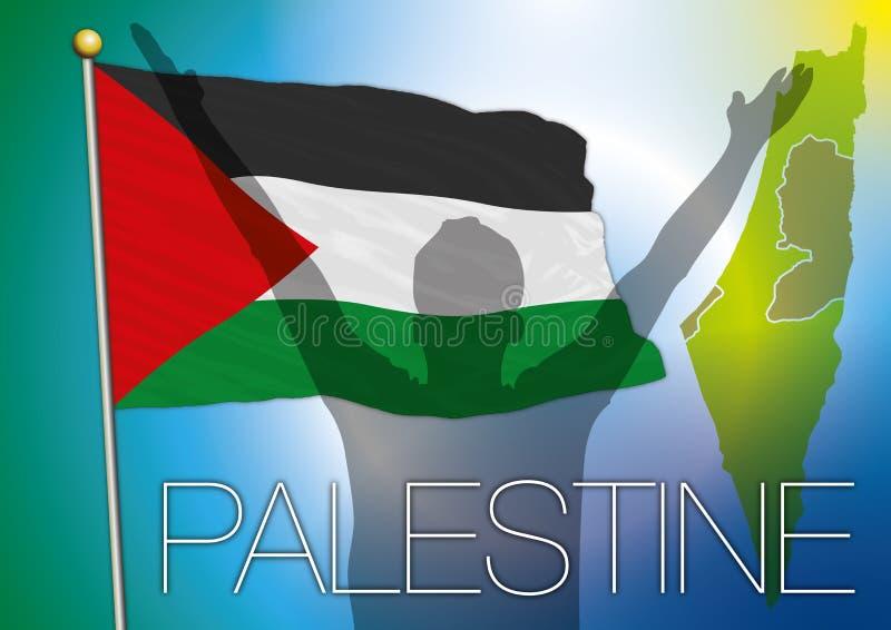 Palestina flagga och översikt royaltyfri illustrationer