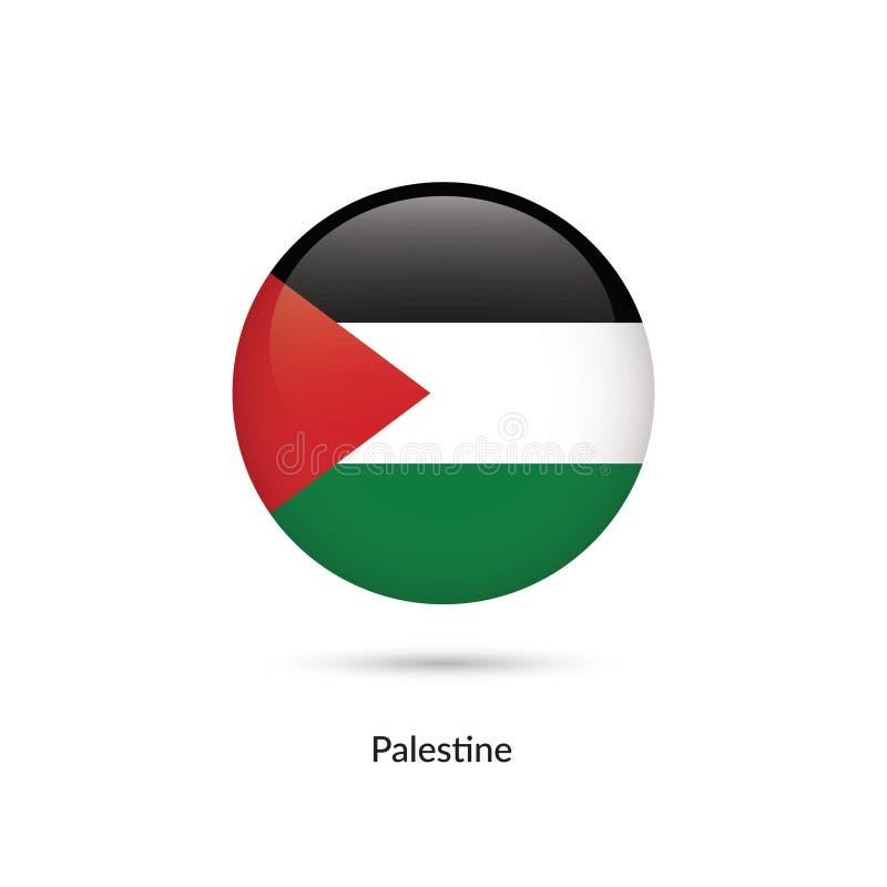 Palestina flagga - rund glansig knapp vektor illustrationer