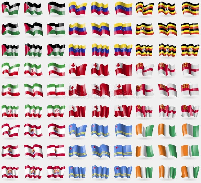 Palestina, Venezuela, Oeganda, Iran, Tonga, Sark, Franse Polynesia, Aruba, Kern d'ivoire Grote reeks van 81 vlaggen royalty-vrije illustratie