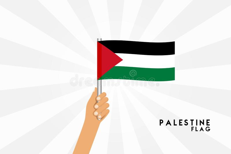 Vector cartoon illustration of human hands hold Palestine  Gaza flag. Isolated object on white background vector illustration