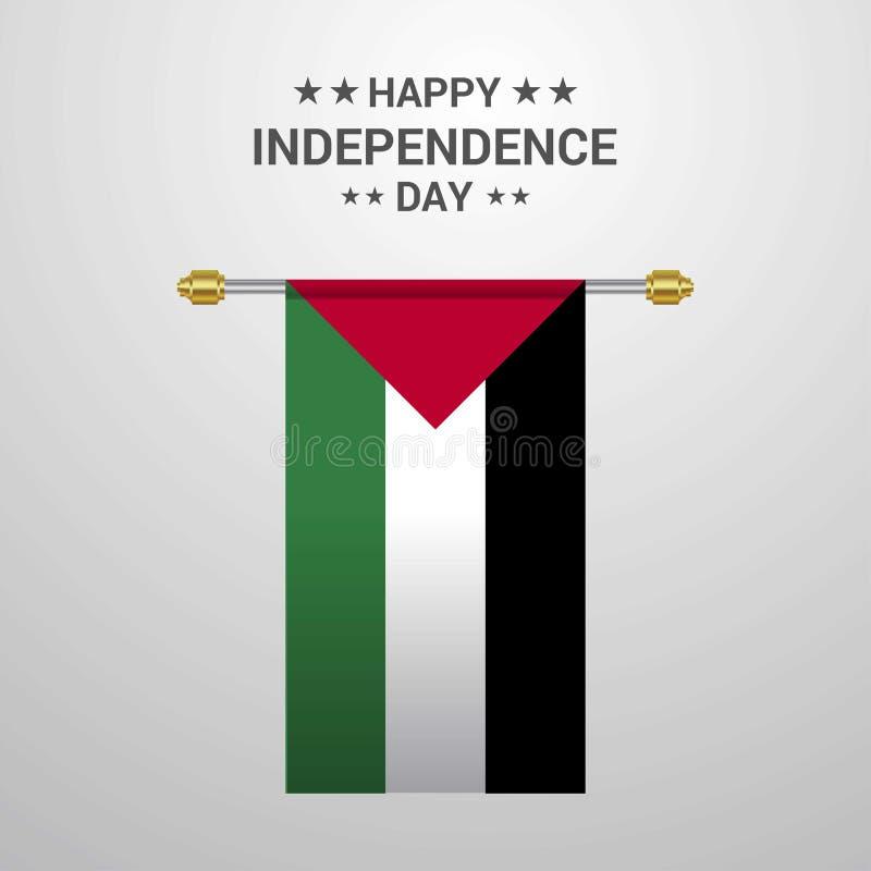 Palestine Independence day hanging flag background royalty free illustration