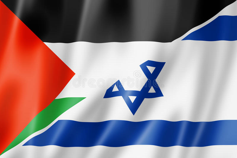 Palestine and Israel flag royalty free illustration