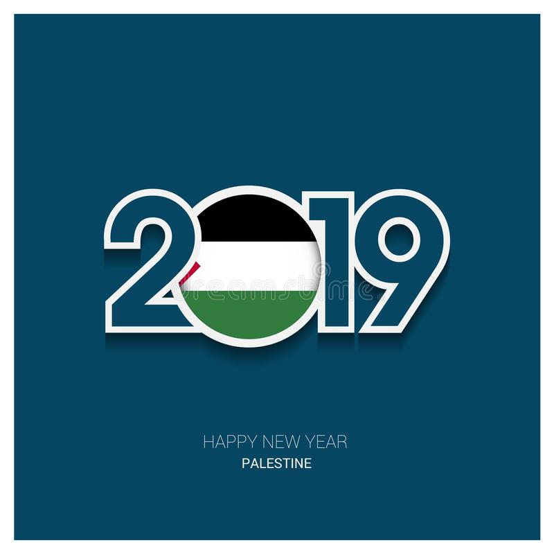 2019 Palestine Typography, Happy New Year Background vector illustration