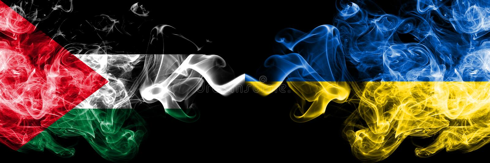 Palestine vs Ukraine, Ukrainian smoky mystic flags placed side by side. Thick colored silky smokes flag of Palestinians and. Ukraine, Ukrainian stock illustration