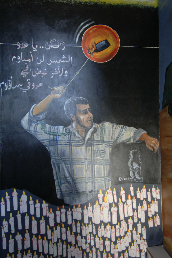Palestinian Art. September 14, 2006 - A painting in a school in Bethlehem, the West Bank, depicts a Palestinian hurling a flaming bottle. Such art work is common