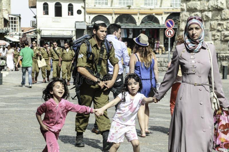 Palestinian children Israeli Soldier royalty free stock photo