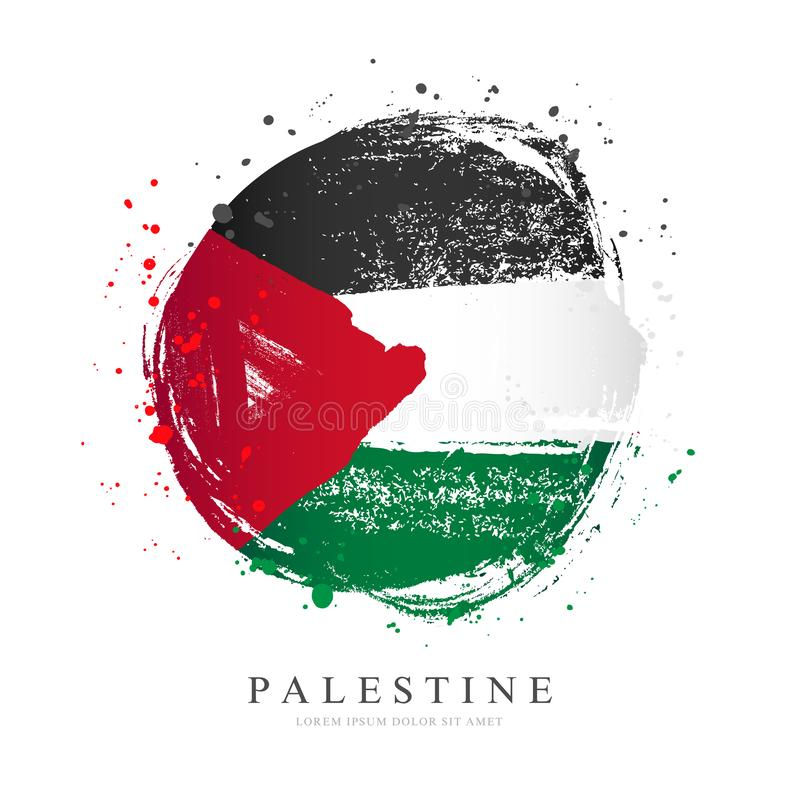 Palestinian flag in the shape of a big circle. Vector illustration on a white background. Brush strokes are drawn by hand. stock illustration