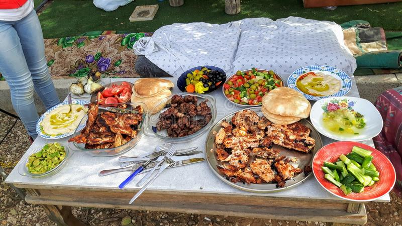 Palestinian meal with many dishes royalty free stock photography