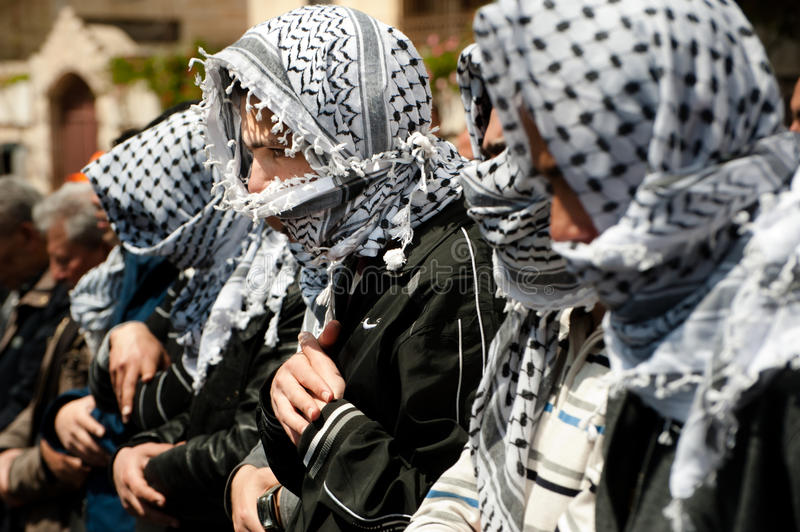 Download Palestinian Muslims pray editorial photo. Image of scarf - 24806471