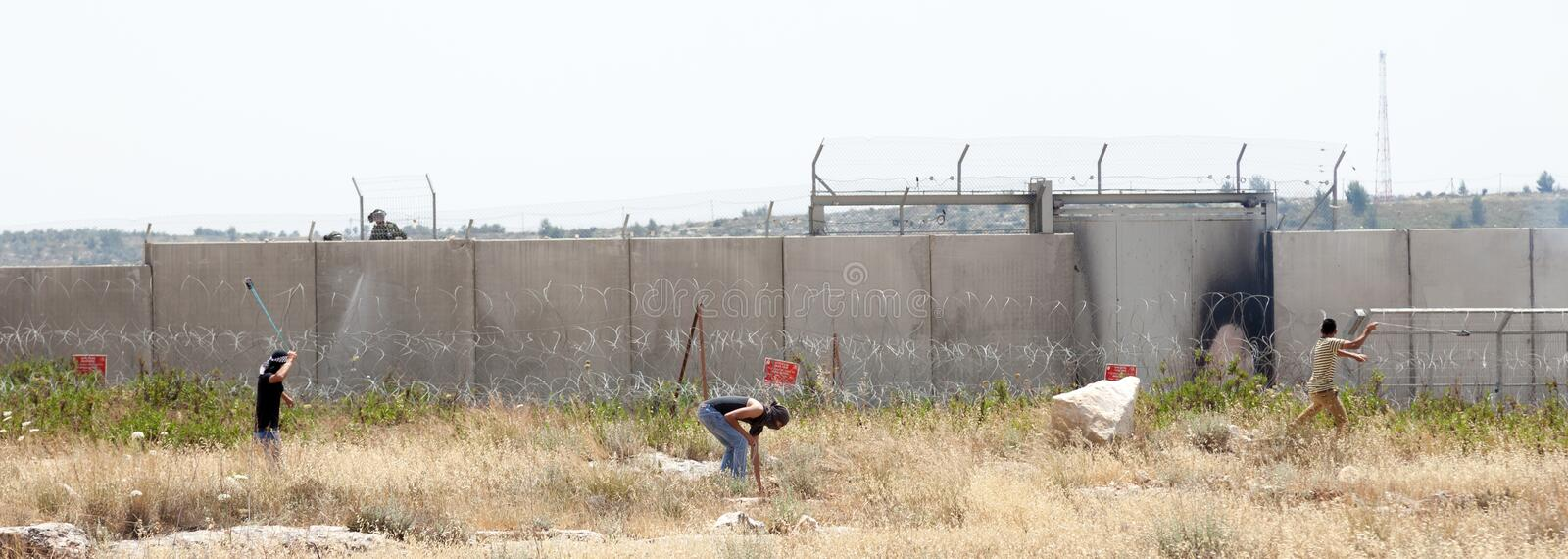 Palestinian Protest By The Wall Of Separation West Bank Editorial Image