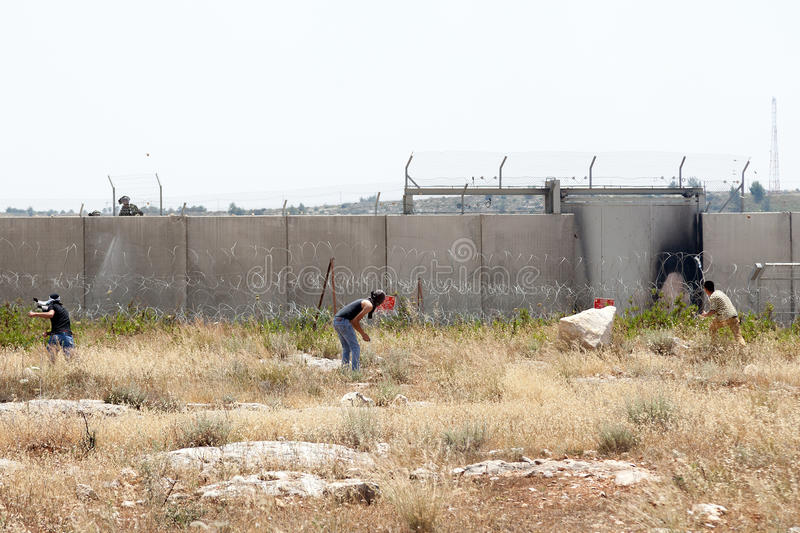 Download Palestinian Protest By The Wall Of Separation West Bank Editorial Photography - Image: 31088072
