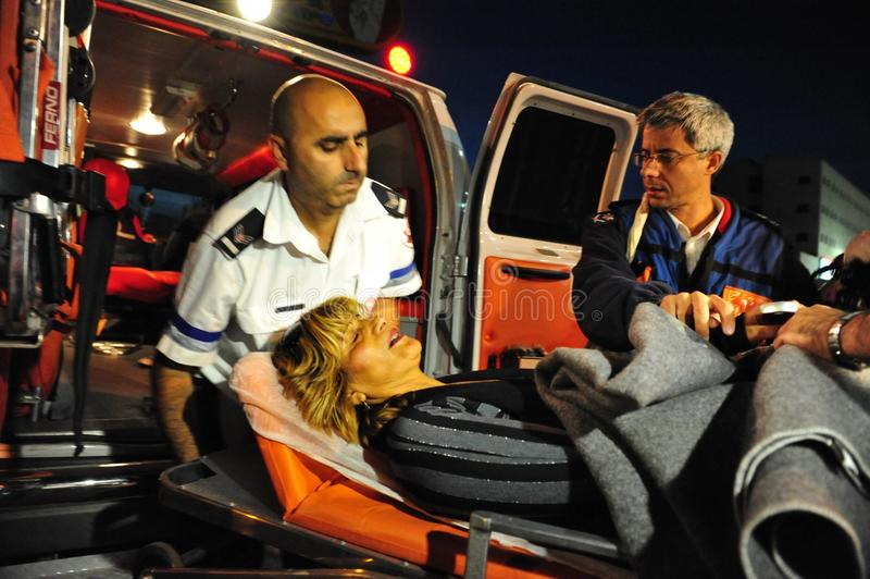 Palestinian rocket attacks on Israel. SDEROT, ISR - DEC 17 2008:Palestinian rocket hits Israeli civilians.Since 2001 over 15,000 rockets hit Israel killed 28 royalty free stock photography