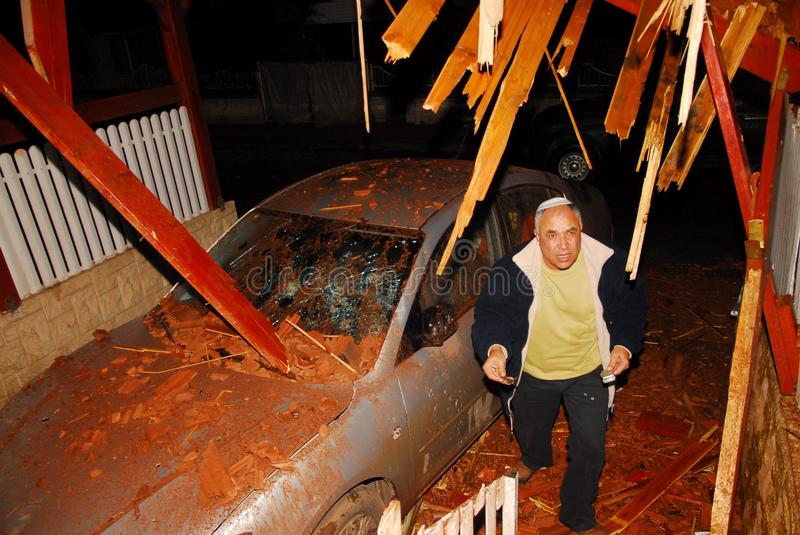 Palestinian rocket attacks on Israel. SDEROT, ISR - FEB 18 2008:Palestinian rocket hits Israeli house.Since 2001 over 15,000 rockets hit Israel killed 28 injured stock photography