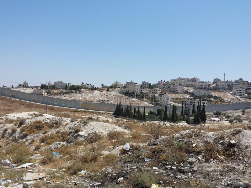 Palestinian town behind walls royalty free stock image