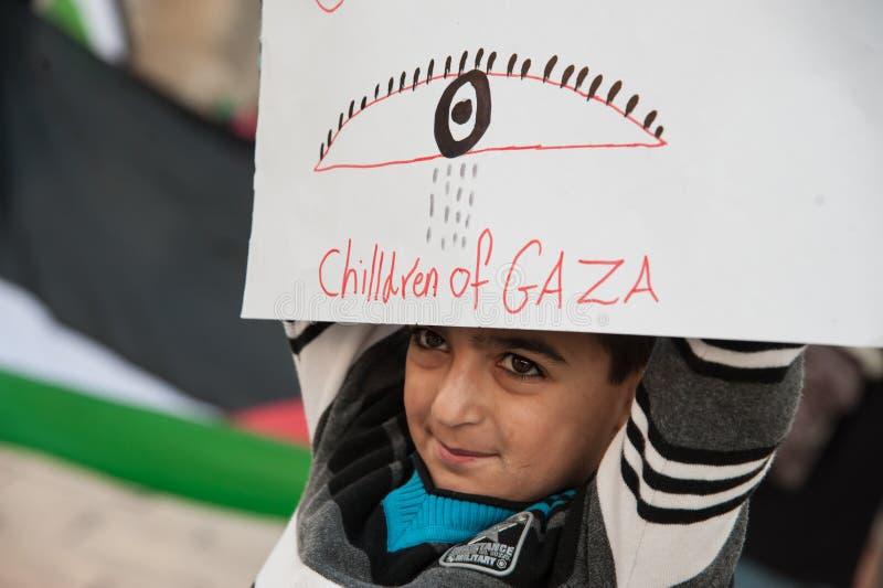Palestinians protest Gaza attacks royalty free stock photo