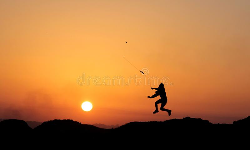 Clashes during the sunset. royalty free stock image