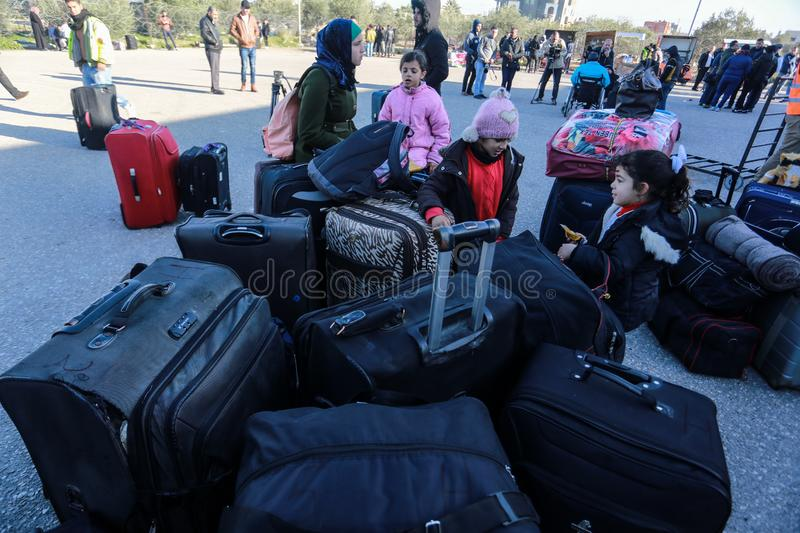 Egyptian authorities reopen the sole passenger crossing between Gaza and Egypt in both directions today. Palestinians wait to leave Gaza through Rafah border royalty free stock images