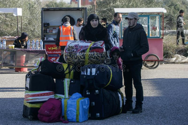 Egyptian authorities reopen the sole passenger crossing between Gaza and Egypt in both directions today. Palestinians wait to leave Gaza through Rafah border royalty free stock photography