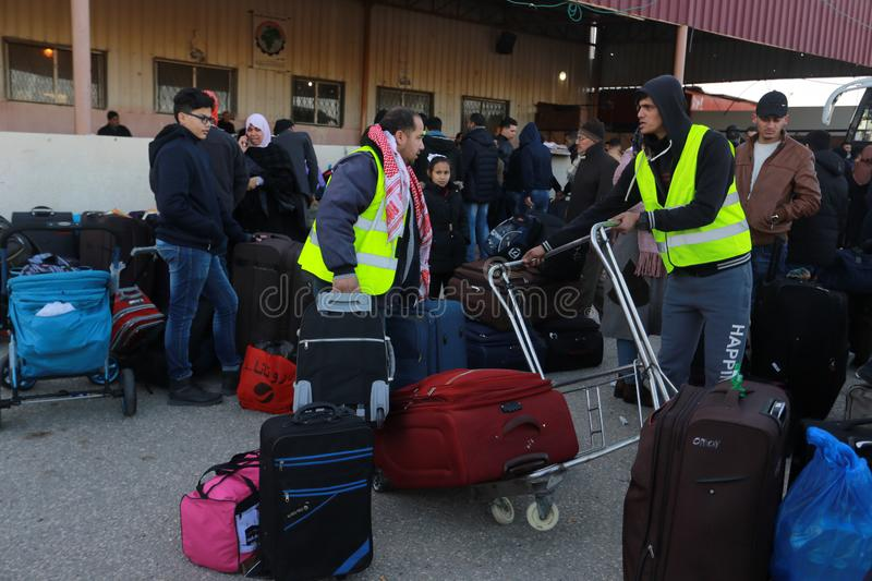 Egyptian authorities reopen the sole passenger crossing between Gaza and Egypt in both directions today. Palestinians wait to leave Gaza through Rafah border royalty free stock image