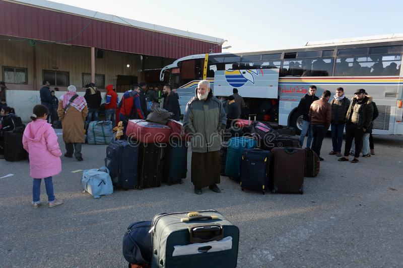 Egyptian authorities reopen the sole passenger crossing between Gaza and Egypt in both directions today. Palestinians wait to leave Gaza through Rafah border stock images