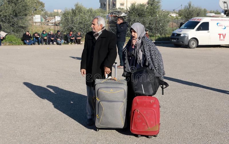Egyptian authorities reopen the sole passenger crossing between Gaza and Egypt in both directions today. Palestinians wait to leave Gaza through Rafah border stock image